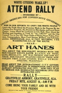 Former Birmingham Former Birmingham mayor Art Hanes and others railed against racial integration in 1963 at rallies sponsored by the Klan-backed United Americans for Conservative Government.