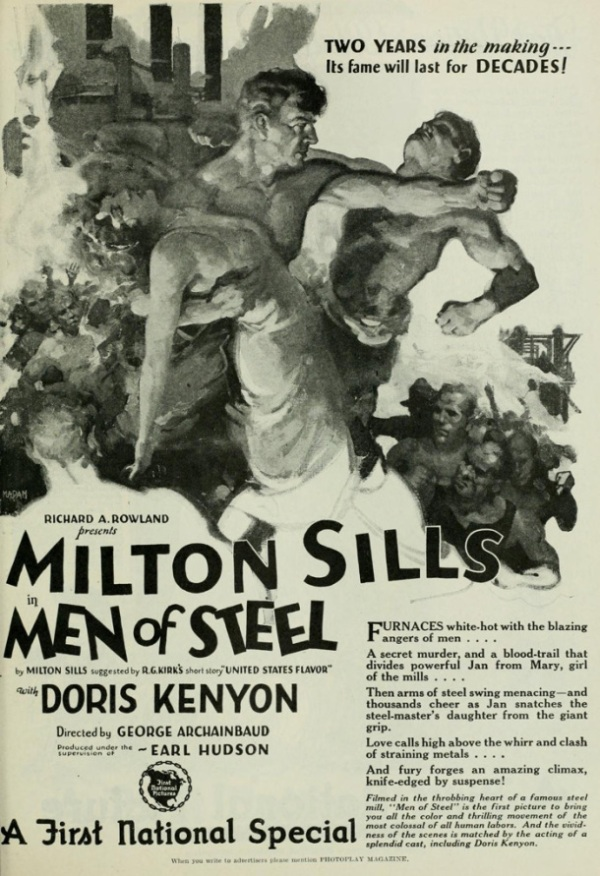 The Men of Steel movie poster in a newspaper advertisement, unfortunately not in full color.