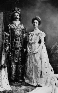 Henry Key Milner and his sister, Mary Clare Milner, as King and Queen of the foiled 1899 Birmingham Mardi Gras. Weather would do away with the annual celebration in Birmingham the next year.