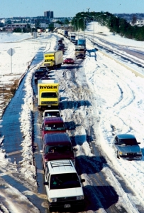 Storms are part of Birmingham's history. This photo looks down on I-65 traffic on March 14, 1993, the year of Birmingham's last great winter storm. Photo by Birmingham News photographer Joe Songer.