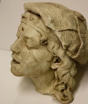 Marble head taken from the Elyton Cemetery circa 1978.