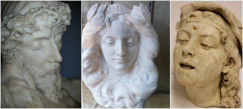 Could the same artist who rendered the Head of Christ, left, and Miss Alabama, center, have created Laughing Girl? [The Christ bust is at the Alabama Department of Archives and History in Montgomery; Miss Alabama is at the Comer Museum in Sylacauga.]