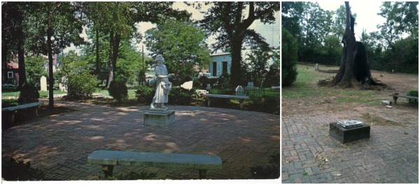 The 1950s-era postcard, left, shows the meticulously kept cemetery, with the Laughing Girl statue intact. On the right, the cemetery as it stands today.