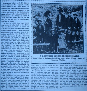 Joshua Mitchell, wife Nettie and seven children pose near the #10 trestle for this 1904 Atlanta Constitution article.