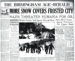 News of the January 1940 snowfall overshadows the Nazis' moves. The ice and below-zero temperatures form ice thick enough for skating on the Black Warrior.
