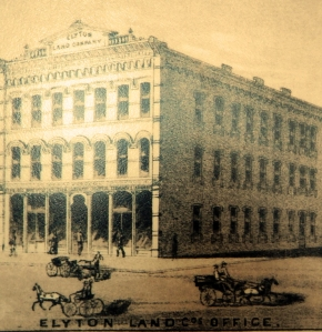 Close up of Elyton Land Office drawing at 20th Street and 1st Avenue North