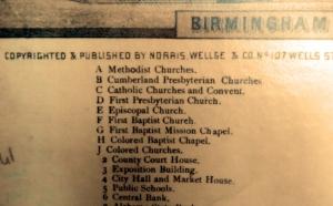 Part of the Birmingham City View legend - Churches
